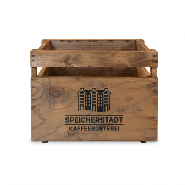 """Holzkiste braun """"Speicherstadt Kaffeerösterei"""""""