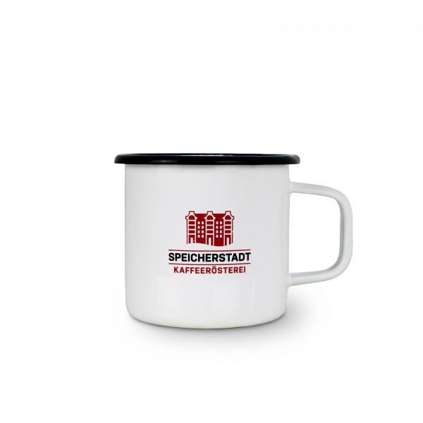 """Emaillebecher """"Speicherstadt Kaffeerösterei"""" 0,35 Liter"""